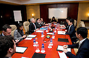 The working group meets before the signature of a Memorandum of Understanding between Paris Europlace and Shanghai Municipal Government Financial Services, at Shanghai / Paris Europlace Financial Forum, in Shanghai, China, on December 1, 2010. Photo by Lucas Schifres/Pictobank