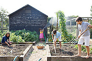 Isy Large and her children: Charlotte, 6, Joseph, 12 and Edward, 12, in their vegetable garden at Hares Farm. CREDIT: Vanessa Berberian for The Wall Street Journal<br /> UKFARM-Hares Farm