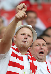 MOSCOW, June 19, 2018  Fans of Poland cheer prior to a Group H match between Poland and Senegal at the 2018 FIFA World Cup in Moscow, Russia, June 19, 2018. (Credit Image: © Xu Zijian/Xinhua via ZUMA Wire)