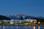 Waterfront views with Mount Cheam in the background in the early evening.  Photographed from the edge of Harrison Lagoon in Harrison Hot Springs, British Columbia, Canada.