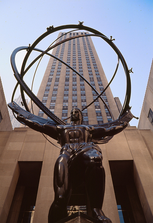 Art deco bronze sculpture of Atlas by Lee Lawrie and Rene Paul Chambellin in the Rockefeller Center courtyard