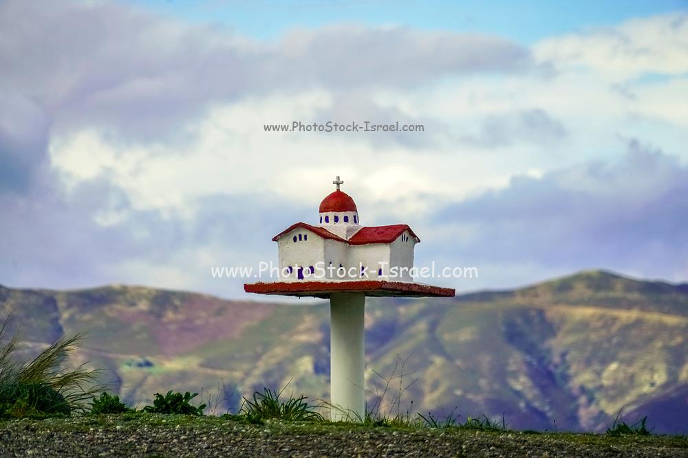 Roadside shrine miniature greek chapel, Crete, Greece