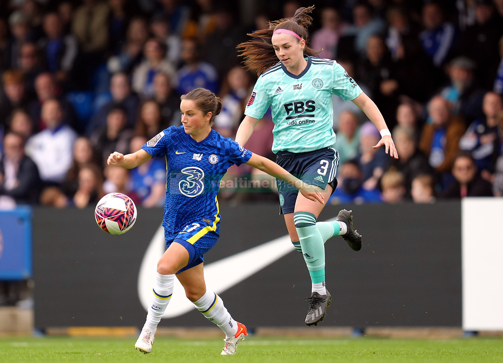 Chelsea Women's Jessie Fleming (left) and Leicester City Women's Sam Tierney battle for the ball during the FA Women's Super League match at Kingsmeadow, London. Picture date: Sunday October 10, 2021.