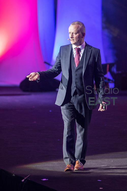Presentation by Hugh-Paul Ward during the FutureNet World Convention in Studio City Event Center, Macau, China, on 25 November 2017. Photo by David Paul Morris/Studio EAST