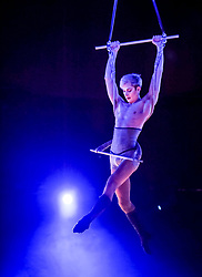 Pictured: Oliver Smith-Wellnitz from the Little Death Club (UK) group.<br /> <br /> Performers from across the globe came together at the Edinburgh Festival to mark the 250th anniversary of circus performances.<br /> <br /> © Dave Johnston / EEm