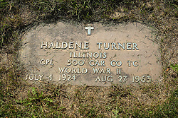 31 August 2017:   Veterans graves in Park Hill Cemetery in eastern McLean County.<br /> <br /> Haldene Turner  Illinois  Corporal  500 CAR Co TC  World War II  July 4 1924  Aug 27 1963