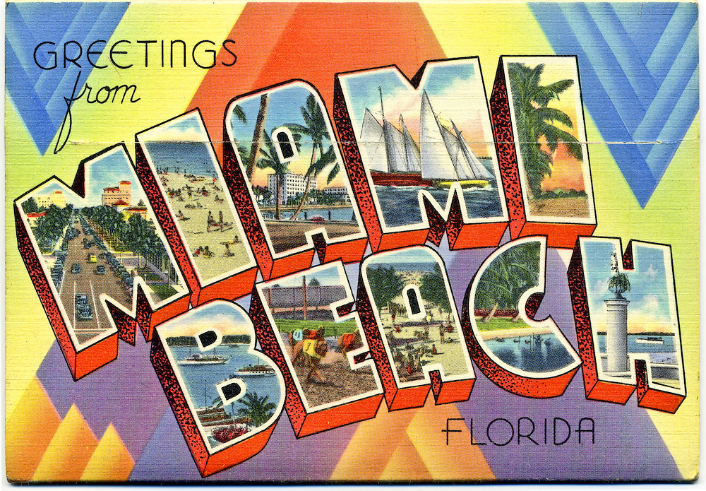 """A classic, large letter """"Greetings from Miami Beach"""" postcard on the back cover of an envelope-like packet of 16 fold-out, vintage postcard views circa 1940."""