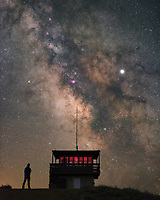 I spent the night at one of my favorite places: Diamond Butte fire lookout in southeast Montana. Once my wheels left the pavement, I drove for 100 miles without seeing another human. Open range cattle, pronghorn antelope, deer, and elk seemed to outnumber people 1,000 to 1. Here in the middle of nowhere are some of the darkest skies you'll ever see. 360° of sparkling stars over the rolling hills and grasslands makes it hard to get any sleep. After the moon set at 1AM I waited for the milky way to get into position. At 3:30 the core of the galaxy containing nebulae, dust clouds, and star clusters moved above the tower. Also visible is the bright planet Jupiter, in the middle of the Dark Horse Nebula.