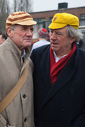 """© Licensed to London News Pictures. 03/03/2012. London, England. L-R: Michael Palin and Terry Jones. Terry Jones and Michael Palin of Monty Pythons fame today, Saturday 3 March, staged a public """"Hopathon"""" to mark the DVD release of Ripping Yarns The Complete Series, and as an homage to the episode entitled Tomkinson's School Days at the Athletics Track in  Hampstead Heath, London. Photo credit: Bettina Strenske/LNP"""
