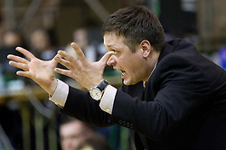Aleksander Sekulic, head coach of Krka during basketball match between KK Union Olimpija Ljubljana and KK Krka Novo mesto of finals of 11th Slovenian Spar Cup 2012, on February 19, 2012 in Sports hall Brezice,  Brezice, Slovenia. Union Olimpija defeated Krka 68-63 and became Slovenian Cup Champion 2012. (Photo By Vid Ponikvar / Sportida.com)