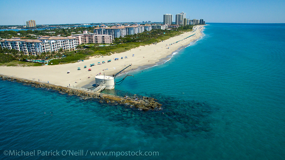 Aerial photograph of Singer Island and Palm Beach Inlet in Palm Beach County, Florida, United States.