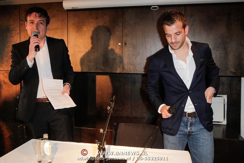 NLD/Amsterdam/20120503 - Lancering Rafael Magazine, Rafael van der Vaart en Robert Heuvels
