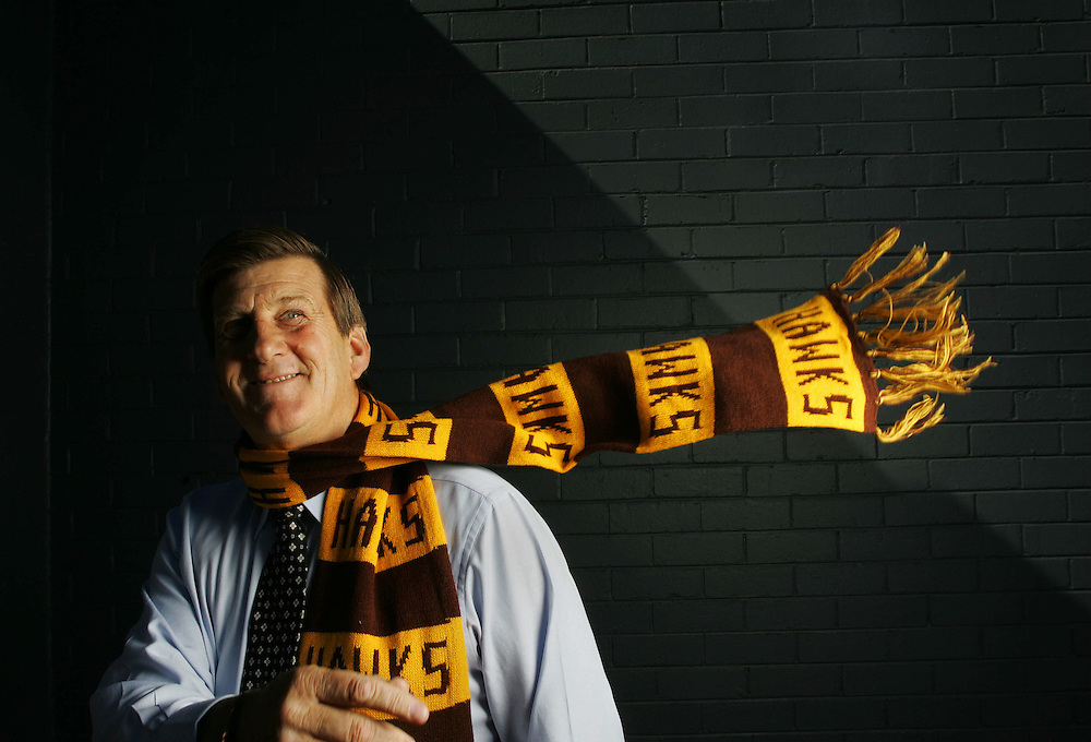 Jeff Kennett, President of Hawthorn Football Club  .Pic By Craig Sillitoe..wearing a Hawthorn scarf , hawks melbourne photographers, commercial photographers, industrial photographers, corporate photographer, architectural photographers, This photograph can be used for non commercial uses with attribution. Credit: Craig Sillitoe Photography / http://www.csillitoe.com<br /> <br /> It is protected under the Creative Commons Attribution-NonCommercial-ShareAlike 4.0 International License. To view a copy of this license, visit http://creativecommons.org/licenses/by-nc-sa/4.0/.