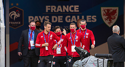 NICE, FRANCE - Wednesday, June 2, 2021: Wales' Aaron Ramsey, Joe Allen, Chris Gunter and captain Gareth Bale during an international friendly match between France and Wales at the Stade Allianz Riviera ahead of the UEFA Euro 2020 tournament. (Pic by Simone Arveda/Propaganda)