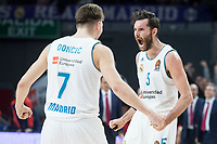Real Madrid Luka Doncic and Rudy Fernandez celebrating the victory during Turkish Airlines Euroleague match between Real Madrid and Baskonia Vitoria at Wizink Center in Madrid, Spain. January 17, 2018. (ALTERPHOTOS/Borja B.Hojas)