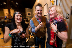 Karlee Cobb, Paul D'Orleans and Susan McLaughlin on Saturday at the Handbuilt Motorcycle Show. Austin, TX. April 11, 2015.  Photography ©2015 Michael Lichter.