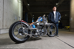 """Beth Albichar with his """"Dirty Majesty"""" 2003 Sportster from Jakarta, Indonesia at the 26th Annual Yokohama Hot Rod and Custom Show 2017. Yokohama, Japan. Sunday December 3, 2017. Photography ©2017 Michael Lichter."""