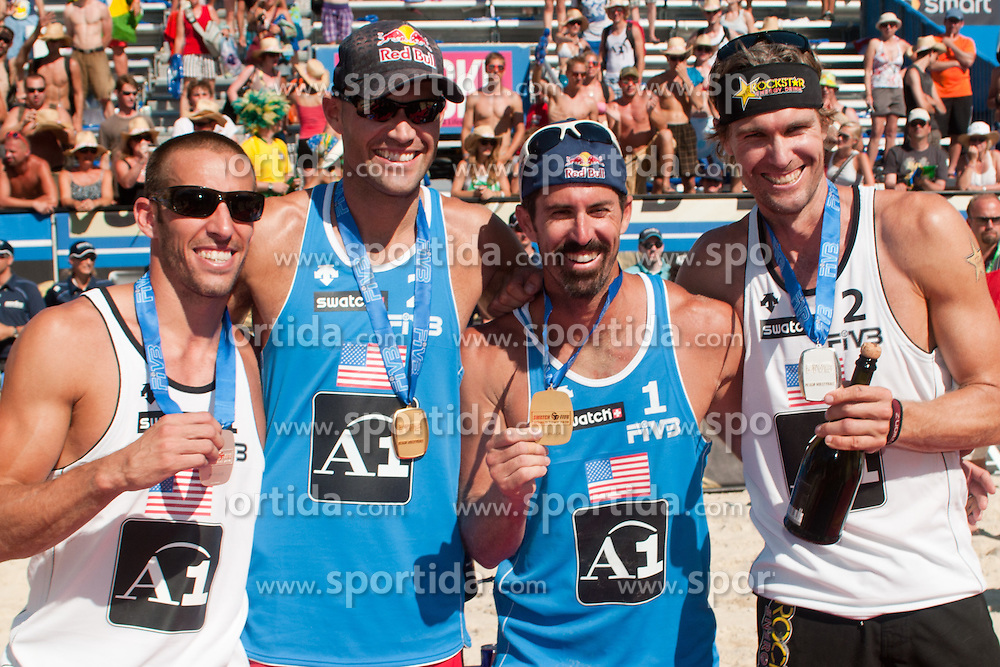 First two teams USA, Phil Dalhausser - Todd Rogers and Nick Lucena - Matt Fuerbringer,  at A1 Beach Volleyball Grand Slam tournament of Swatch FIVB World Tour 2010, final, on August 1, 2010 in Klagenfurt, Austria. (Photo by Matic Klansek Velej / Sportida)