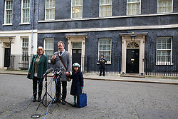© Licensed to London News Pictures. 23/01/2020. London, UK. Richard Ratcliffe stands with his mother, BARBARA and daughter GABRIELLA in Downing Street after meeting Prime Minister, BORIS JOHNSON. NAZANIN ZAGHARI-RATCLIFFE, a dual-national British-Iranian, has been in detention in Tehran since her arrest on 3 April 2016. She is accused of spying – a charge she denies. Photo credit: Dinendra Haria/LNP