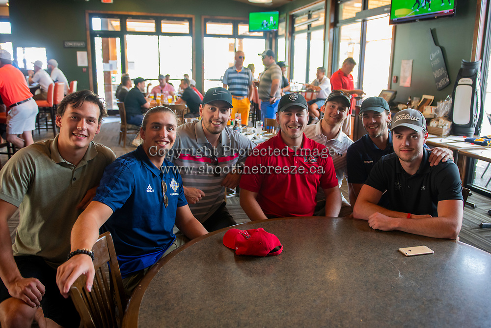 KELOWNA, CANADA - JULY 21: Connor Bruggen-Cate, Jackson Whistle, Justin Kirkland, Tyson Baillie, Gordie Ballhorn, Rodney South and Cole Linaker pose for a photo at the Kelowna Rockets Alumni golf tournament at Black Mountain Golf Club in Kelowna, British Columbia, Canada.  (Photo by Marissa Baecker/Shoot the Breeze)  *** Local Caption ***