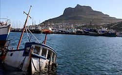 A sunken boat in Hout Bay Harbour, Cape Town.