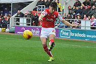 Rotherham United midfielder Joe Newell crosses ball  during the Sky Bet Championship match between Rotherham United and Charlton Athletic at the New York Stadium, Rotherham, England on 30 January 2016. Photo by Ian Lyall.