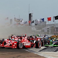 25-27 March, 2011, St. Petersburg, Florida, USA<br /> Dario Franchitti, Scott Dixon and Marco Andretti try to make it three-wide in turn one at the start.<br /> © 2011 Phillip Abbott<br /> LAT Photo USA
