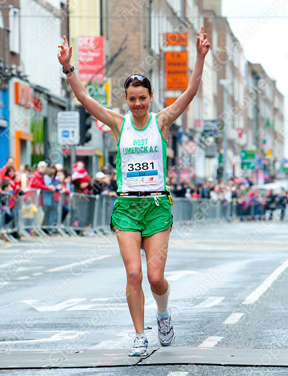SPORT ... Liz Hussey (West Limerick AC) winning the ladies marathon at the inaugural Great Limerick Run featuring a marathon a half marathon and a 10K walk/run. 6,000 people participated. - Photo: Kieran Clancy /    © 2/5/10 <br /> www.kieranclancy.ie<br /> **Issued on behalf of the Great Limerick Run' **NO FEE ****