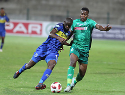 23102018 (Durban) Cape Town City player Kwanda trying to block Amazulu player Bonginkosi Ntuli during the first round of the Telkom Knockout concludes on Tuesday night when Amazulu walloped the MTN8 Cup winners Cape Town City  2-0 at the King Zwelithini stadium, Durban. Amazulu making their way to the quarter finals were they would be playing against Orlando Pirates at the same venue.<br /> Picture: Motshwari Mofokeng/African News Agency (ANA)