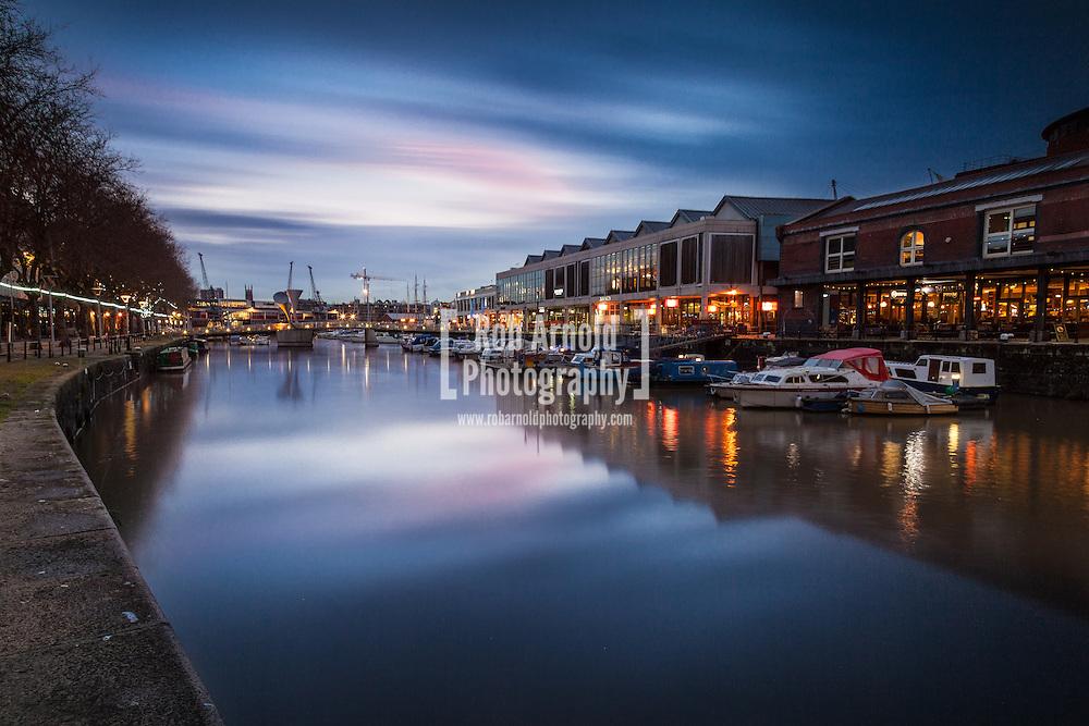 Harbourside in Bristol at dusk