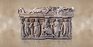 """Side panel of a Roman relief sculpted sarcophagus with kline couch lid, """"Columned Sarcophagi of Asia Minor"""" style typical of Sidamara, 3rd Century AD, Konya Archaeological Museum, Turkey. Against a warm art background. .<br /> <br /> If you prefer to buy from our ALAMY STOCK LIBRARY page at https://www.alamy.com/portfolio/paul-williams-funkystock/greco-roman-sculptures.html . Type -    Konya     - into LOWER SEARCH WITHIN GALLERY box - Refine search by adding a subject, place, background colour, museum etc.<br /> <br /> Visit our ROMAN WORLD PHOTO COLLECTIONS for more photos to download or buy as wall art prints https://funkystock.photoshelter.com/gallery-collection/The-Romans-Art-Artefacts-Antiquities-Historic-Sites-Pictures-Images/C0000r2uLJJo9_s0"""