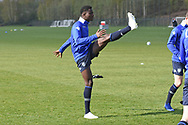 Leeds United players warm up during the U18 Professional Development League match between Coventry City and Leeds United at Alan Higgins Centre, Coventry, United Kingdom on 13 April 2019.