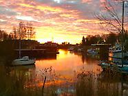 Landsmeerdijk bij zonsopgang
