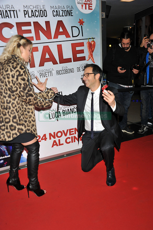 "Emma Brown, Luca Bianchini attending the ""The Christmas Dinner"" premiere held in Rome, Italy."