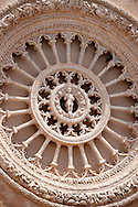 The 15th century  rose window of the cathedral of Ostuni, Puglia, South Italy. .<br /> <br /> Visit our ITALY HISTORIC PLACES PHOTO COLLECTION for more   photos of Italy to download or buy as prints https://funkystock.photoshelter.com/gallery-collection/2b-Pictures-Images-of-Italy-Photos-of-Italian-Historic-Landmark-Sites/C0000qxA2zGFjd_k<br /> .<br /> <br /> Visit our MEDIEVAL PHOTO COLLECTIONS for more   photos  to download or buy as prints https://funkystock.photoshelter.com/gallery-collection/Medieval-Middle-Ages-Historic-Places-Arcaeological-Sites-Pictures-Images-of/C0000B5ZA54_WD0s