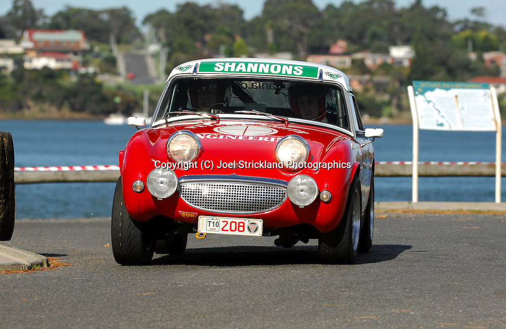 #208 - Peter Smith & Ashley Smith - 1958 Austin Healey Sprite.Prologue.George Town.Targa Tasmania 2010.27th of April 2010.(C) Joel Strickland Photographics.Use information: This image is intended for Editorial use only (e.g. news or commentary, print or electronic). Any commercial or promotional use requires additional clearance.