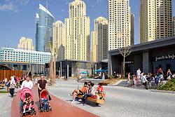New pedestrian shopping and dining promenade beside beach called The Beach off The Walk at Jumeirah Beach Residences (JBR) in Dubai United Arab Emirates