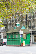 A cabmans' shelters along Thurloe Place on 19th October 2015 in London, United Kingdom. Established in 1875, today they provide shelter, hot food and non-alcoholic drinks to cab drivers in London
