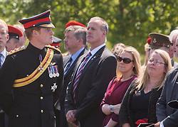 © Licensed to London News Pictures. 10/06/2015. Alrewas, UK. His Royal Highness Prince Harry of Wales  attended a Service of Dedication to inaugurate the Bastion Memorial, for those who lost their lives during combat operations in Afghanistan.  Over 2000 guests attended the ceremony.   Photo credit : Alison Baskerville/LNP
