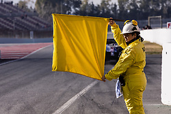 February 18, 2019 - Barcelona, Barcelona, Spain - Marshal with the yellow flag during the Formula 1 2019 Pre-Season Tests at Circuit de Barcelona - Catalunya in Montmelo, Spain on February 18, 2019. (Credit Image: © Xavier Bonilla/NurPhoto via ZUMA Press)