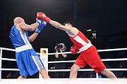 Boxen: AIBA Box-WM, Day 4, Hamburg, 28.08.2017<br /> +91 Kg: Bakhodir Jalolov (UZB, red) - Kem Larsen (DEN, blue)<br /> © Torsten Helmke