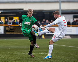 Alloa Athletic's keeper Scott Bain  and Falkirk's Rory Loy.<br /> Alloa Athletic 0 v 0 Falkirk, Scottish Championship 12/10/2013. played at Recreation Park, Alloa.<br /> ©Michael Schofield.