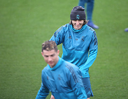 April 10, 2018 - Madrid, Spain - Luka Modric of Real Madrid CF jokes with his team mates during a training session ahead of their UEFA Champions LEague quarter final second leg match against Juventus at Valdebebas training ground on April 10, 2018 in Madrid, Spain. (Credit Image: © Raddad Jebarah/NurPhoto via ZUMA Press)