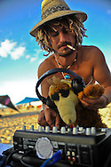 """DJ at """"Mid Burn"""" the Israeli """"Burning Man Festival"""" held at """"Habonim"""" beach north of Israel October 4-6, 2012."""