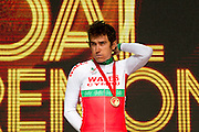 Mcc0055084 . Daily Telegraph<br /> <br /> Wale's Geraint Thomas wins Gold in the Men's Road Race on Day 11 of the 2014 Commonwealth Games in Glasgow . Out of 140 competitors only 12 finished the 104 mile  race in often torrential rain through the streets of Glasgow .<br /> <br /> <br /> Glasgow 3 August 2014
