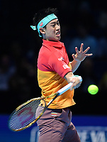 Tennis - 2018 Nitto ATP Finals at The O2 - Day Five<br /> <br /> Group Singles Group Lleyton Hewitt: Dominic Thiem (AUT) vs. Kei Nishikori (JPN)<br /> <br /> Nishikori launches into a forehand.<br /> <br /> COLORSPORT/ASHLEY WESTERN