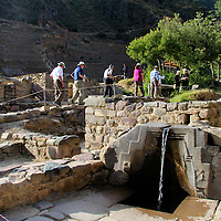 South America, Peru, Ollanta. Bath of the Princess fountain at Ollantaytambo.