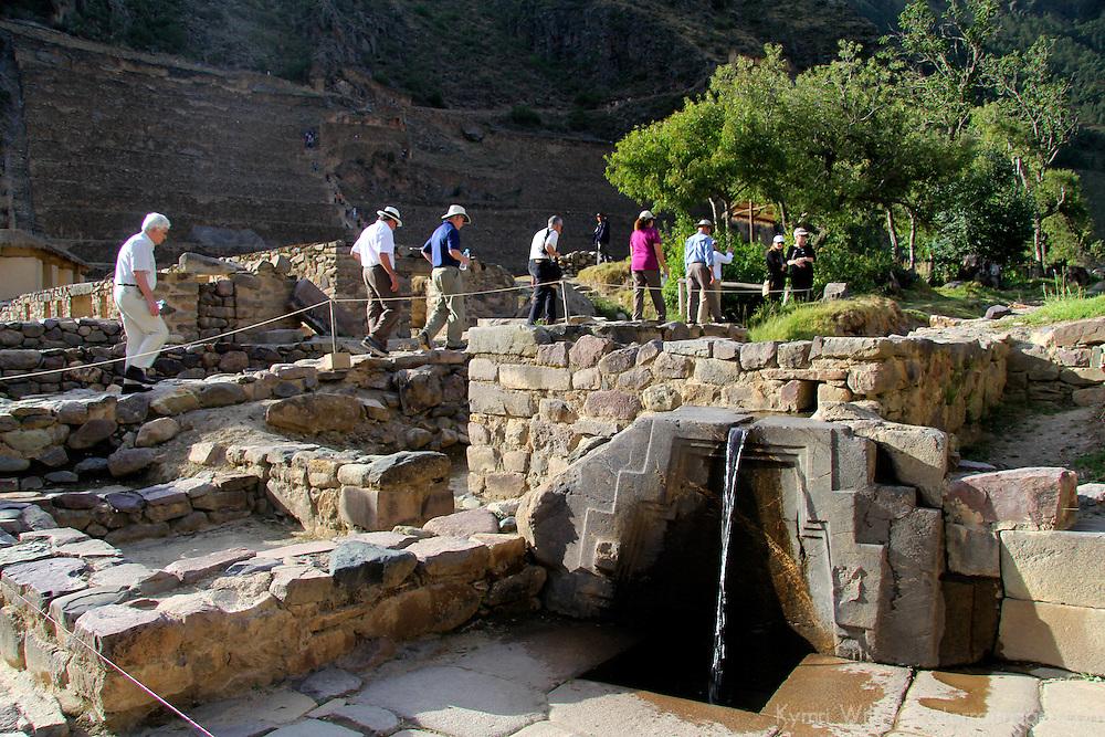 South America, Peru, Ollanta. Bath of the Princess fountain at Ollantaytambo.
