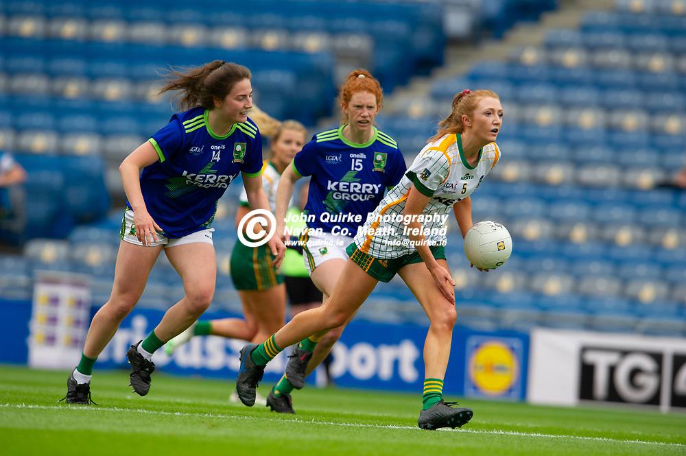 26-06-21. Meath v Kerry - Lidl Ladies National Football League Division 2 Final at Croke Park.<br /> Aoibheann Leahy, Meath in action against Hannah O'Donoghue and Louise Ni Muircheataigh, Kerry.<br /> Photo: John Quirke / www.quirke.ie<br /> ©John Quirke Photography, 16 Proudstown Road, Navan. Co. Meath. (info@quirke.ie / 046-9028461 / 087-2579454).