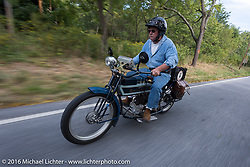 Jeff Tiernan of NY on his 1913 Henderson during the Motorcycle Cannonball Race of the Century. Stage-2 from York, PA to Morgantown, WV. USA. Sunday September 11, 2016. Photography ©2016 Michael Lichter.